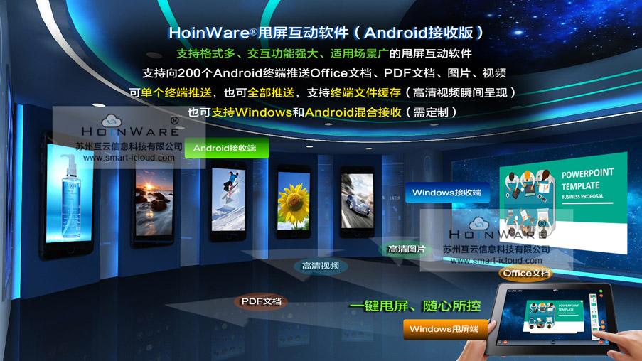 HoinWare®甩屏互动软件(Windows甩Android版本),一个甩屏动作完成多种格式Offce文档、高清图片、视频的瞬间推送和无线交互控制